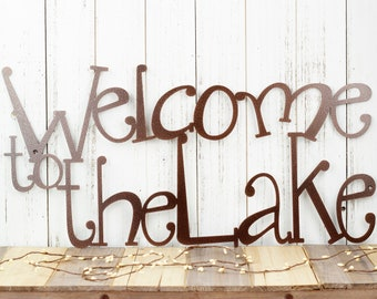 Welcome to the Lake Sign | Metal Wall Art | Lake House Decor | Cabin Decor | Outdoor Sign | Wall Decor | Laser Cut Metal | Copper Vein shown