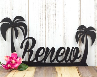 Palm Tree Custom Name Sign | Tropical Decor | Palm Tree Wall Art | Metal Sign | Name Sign | Metal Wall Art | Outdoor Sign