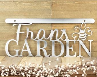 Garden Custom Metal Wall Art / Metal Sign / Custom Sign / Garden Decor / Name Sign / Steel / 18x8 / example: Uncoated Bare Metal, Bumble Bee