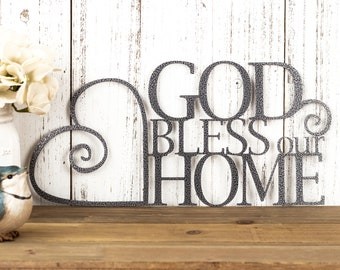God Bless Our Home Metal Sign | Heart | Religious Decor | God Bless | Spiritual Decor | Religious Wall Art | Metal Wall Art | Sign