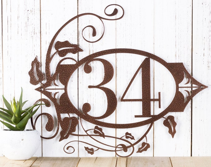 Metal House Number Plaque, Outdoor Custom Address Sign, Personalized Housewarming Gift
