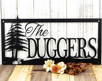 Custom Outdoor Family Last Name Metal Sign with Pine Trees and Rocks - Black, 20x10, Custom Sign, House Sign