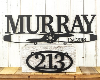 Aviation Family Last Name Established Metal Sign with Propeller, and Outdoor House Number Oval Plaque, as Custom and Personalized Pilot Gift