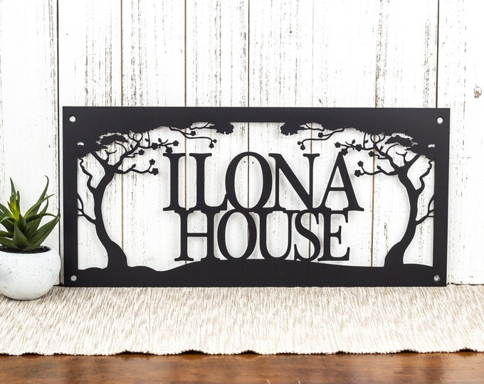 Custom Metal Sign Outdoor with Family Name for Lake House Decor with a Cherry Tree // Personalized Cabin Plaque