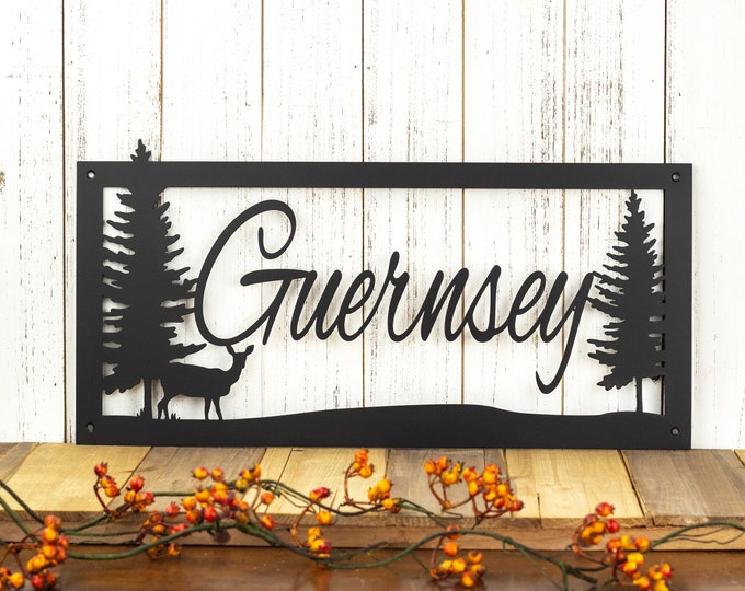 Last Name Sign | Metal Signs Personalized | Custom Metal Sign | Lake House Decor | Rustic Home Decor | Laser Cut Sign | Matte Black shown