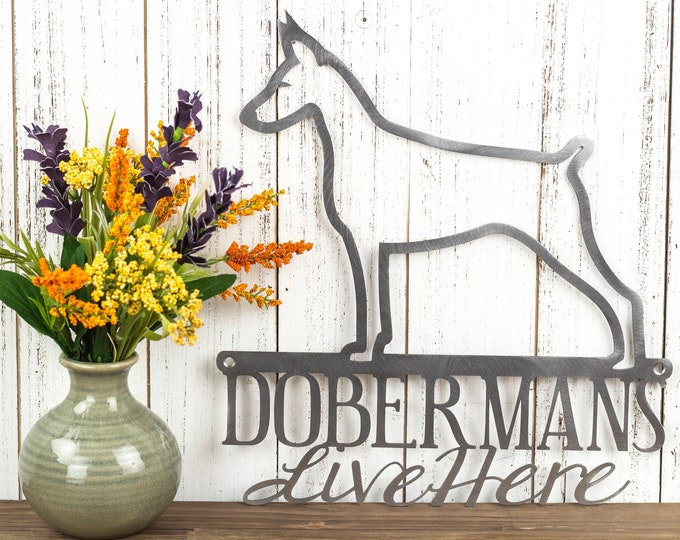 Doberman Sign | Doberman Pinscher | Dog Silhouette Sign | Beware of Dog Sign | Doberman Gift | Wall Art | Laser Cut Metal | Raw Steel shown