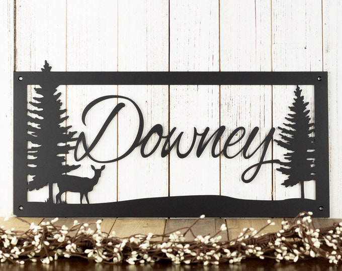 Custom Metal Sign - Outdoor - Last Name Sign - Housewarming Gift - Personalized Sign - Farmhouse - Rustic - Country - Lake House - Deer