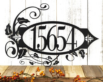 Custom Outdoor House Number Metal Sign - 5 Digit, Black, 19.8x13.15, Metal Wall Art, Address Sign, Custom Sign