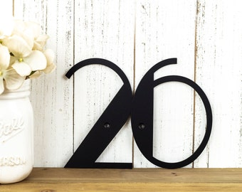 Art Deco Modern House Number | Metal Sign | Address Plaque | Address Sign | House Numbers | Outdoor Sign | 2 Digit in Matte Black is shown