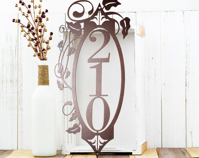 Vertical House Number with Vines | Metal Address Plaque | Vertical Address Plaque | Outdoor Signs | Laser Cut Metal | Copper Vein shown