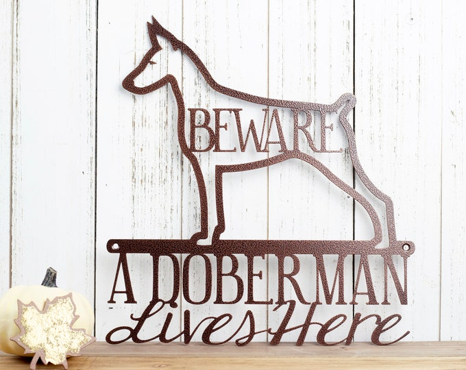 Doberman Metal Wall Art | Beware | Doberman Pinscher | Metal Sign | Outdoor Sign | Dog Sign | Pet | Pinscher | Dog Decor | Wall Decor