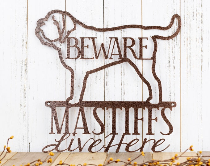 English Mastiffs Live Here Metal Sign - Copper, 12x12, English Mastiff, Mastiff, Door Sign, Metal Wall Art, Dog Sign