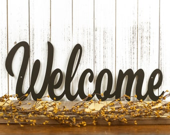 "Metal Welcome Sign | Farmhouse Decor | Outdoor Wall Art | Welcome Sign for Front Porch | Lake House Decor | Matte Black shown 24""x9"""