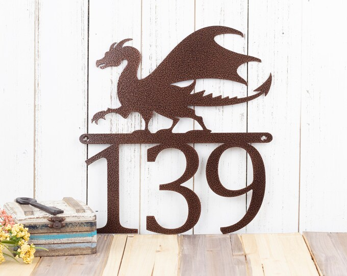 Dragon Custom House Number | Custom Metal Sign | Fantasy | Medieval | Outdoor Sign | Metal Sign | Metal House Numbers | Outdoor Sign