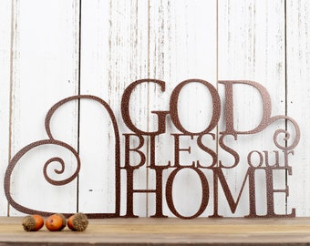 God Bless Our Home Metal Sign | God Bless | Heart | Metal Wall Art | Wall Hanging | Metal Wall Decor | Religious Decor | Home Sign | Sign