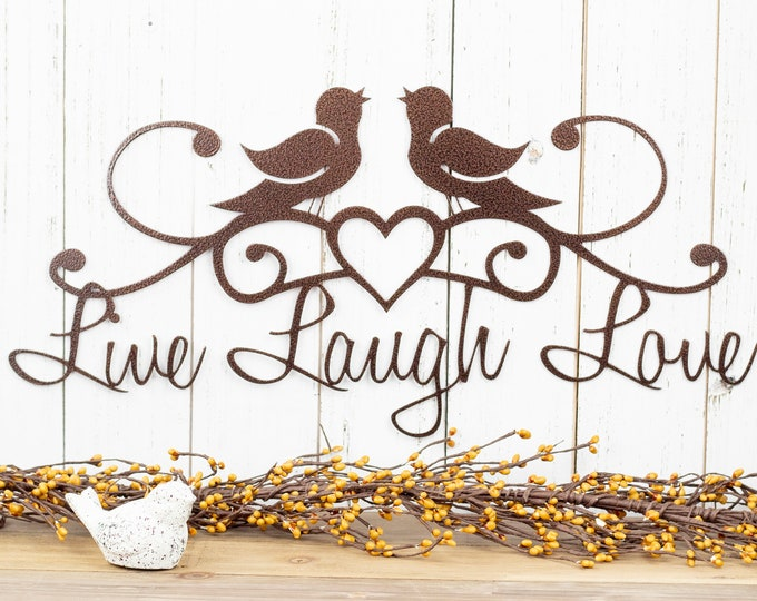 Live Laugh Love | Birds | Wall Decor | Rustic Decor | Lake House Decor | Heart | Wall Hanging | Metal Wall Art | Metal Sign