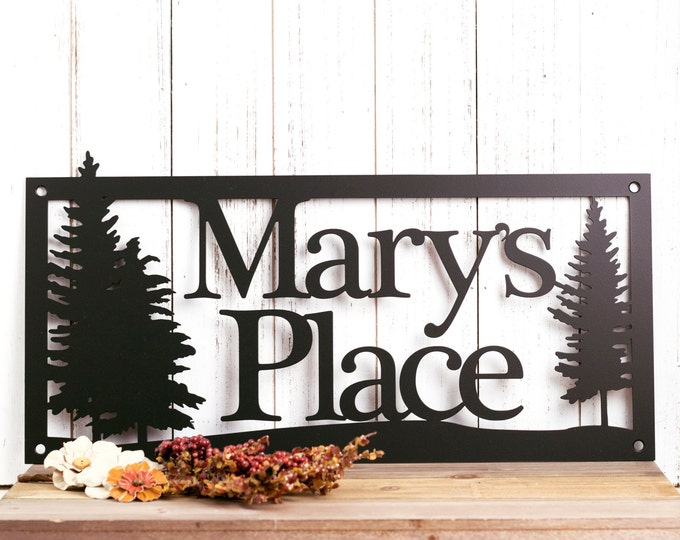 Custom Metal Sign | Outdoor Sign | Family Name | Custom Sign | Wedding Gift | Anniversary | Sign | Metal Wall Art | Pine Trees
