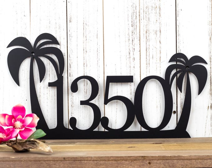 Palm Tree House Number Metal Sign | Address Sign | Address Plaque | Outdoor House Number | Metal Wall Art | House Numbers