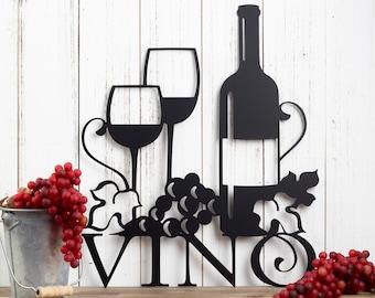 Vino Metal Wall Art | Wine | Vino | Wine Sign | Wine Wall Decor | Wine Decor | Kitchen Decor | Metal Sign | Wedding Gift