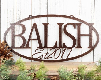 Custom Established Family Last Name Metal Sign, Outdoor Wall Hanging in Laser Cut Steel, Home Decor, Personalized Wedding Gift