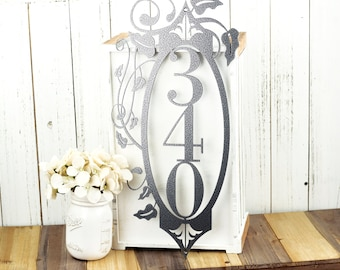 Vertical Outdoor House Number Metal Sign - 3 Digit, Silver, 9.5x20, Address Plaque, Metal Sign, Signage, House Sign