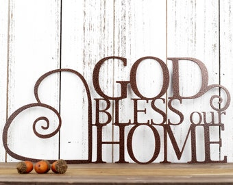 God Bless Our Home Metal Sign   God Bless   Heart   Metal Wall Art   Wall Hanging   Metal Wall Decor   Religious Decor   Home Sign   Sign
