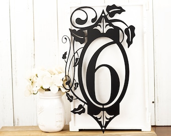 Vertical House Number Sign - Metal Address Plaque with Vines