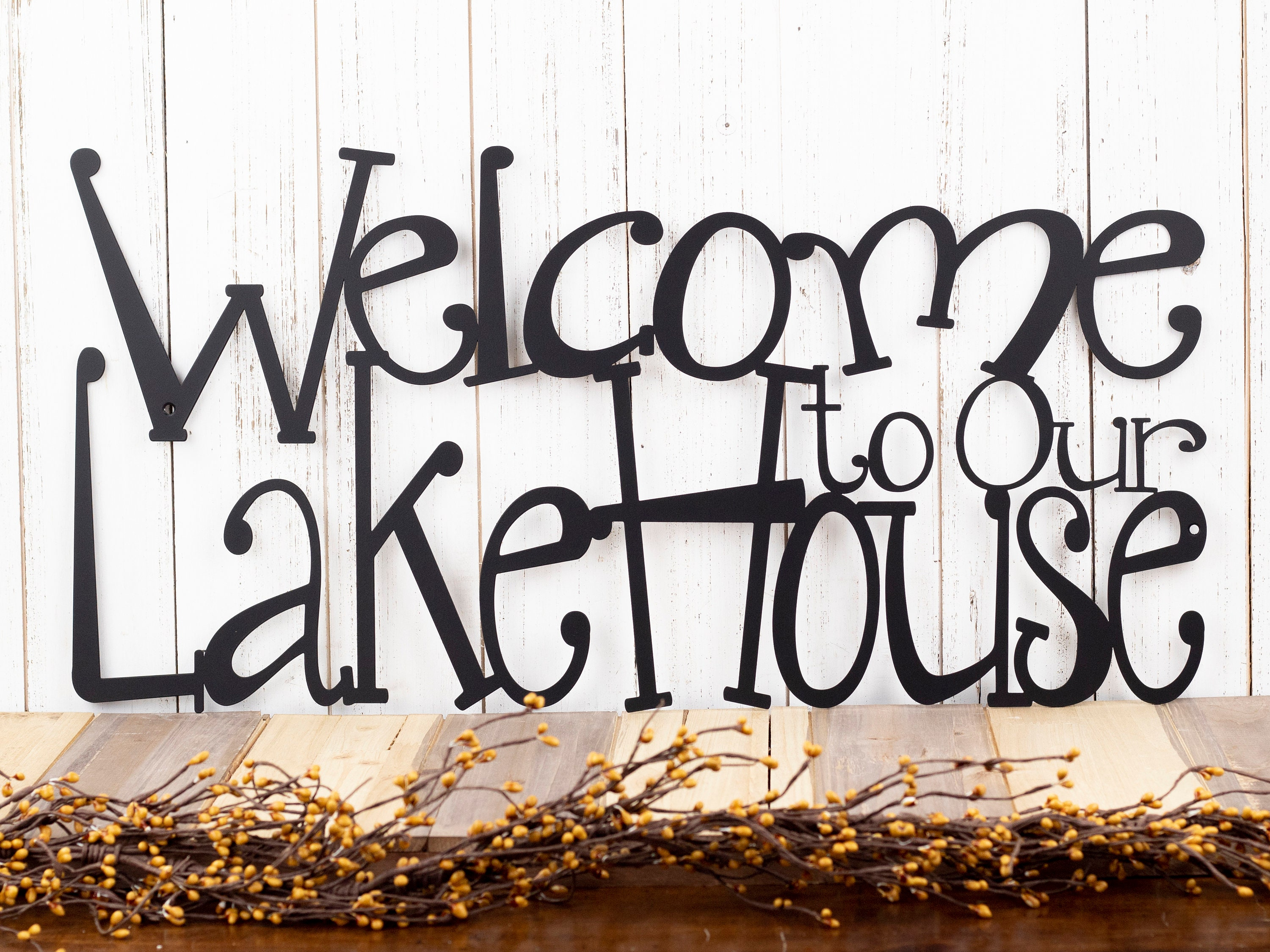 Lake House Sign Lake House Decor Steel Signs Outdoor Metal Wall Art Welcome Sign Cabin Sign Laser Cut Sign Matte Black Shown