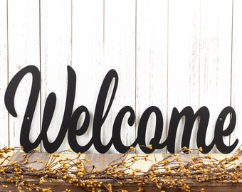 """Metal Welcome Sign   Farmhouse Decor   Outdoor Wall Art   Welcome Sign for Front Porch   Lake House Decor   Matte Black shown 24""""x9"""""""