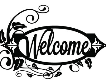 Welcome Metal Sign with Vines - Black, 19.8x13.15, Metal Wall Art, Outdoor Sign, House Sign, Door Sign, Sign, Signage