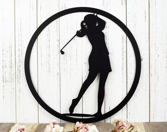Golf Metal Wall Decor   Woman   Gift For Her   Golf Gift   Golfer Gift   Metal Wall Art   Metal Sign   Metal Wall Hanging