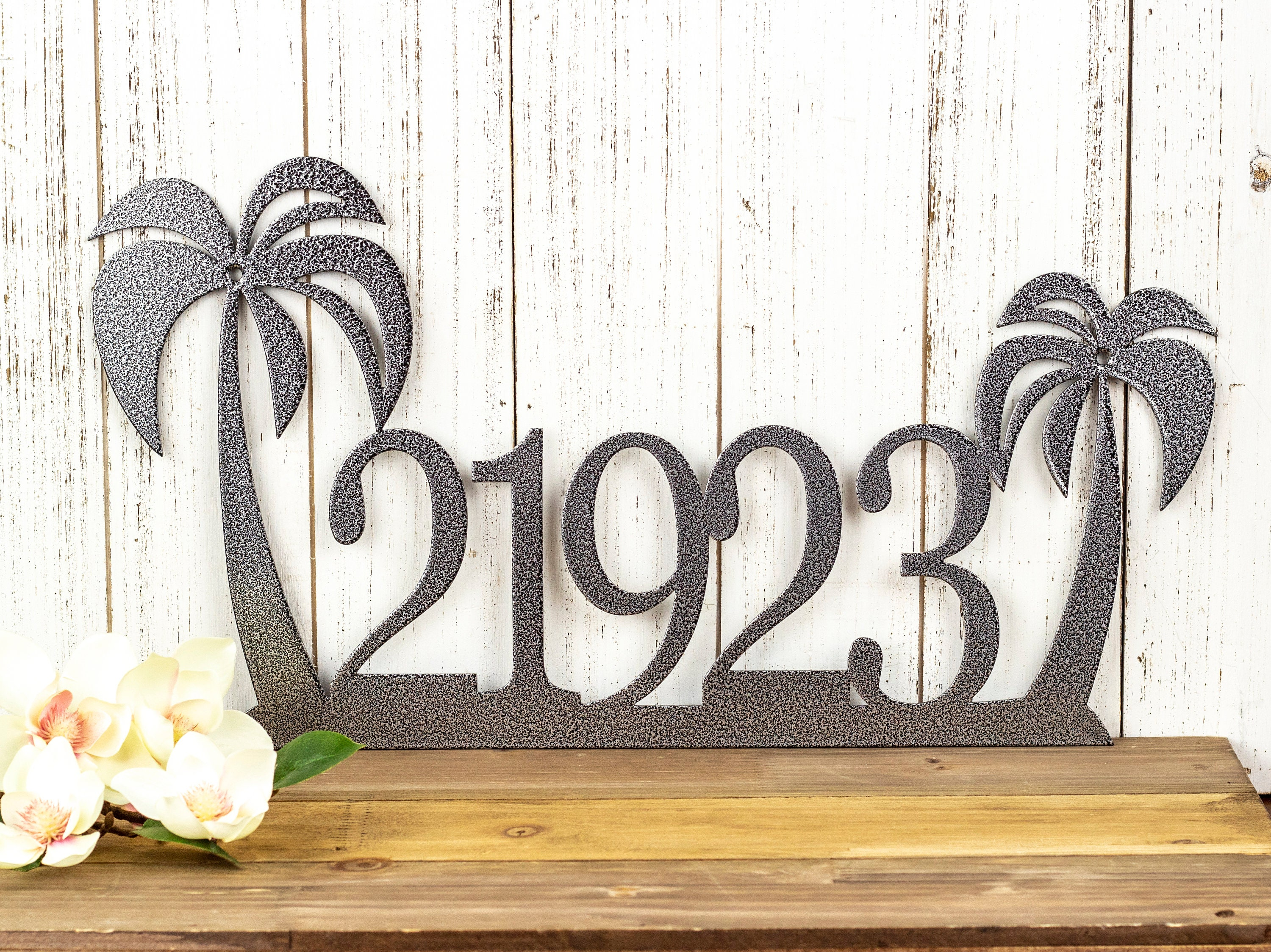 Art Décor: House Number Palm Tree Metal Sign, Outdoor Address Plaque