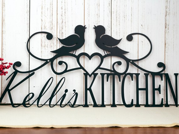 custom name sign birds kitchen decor metal wall art | etsy