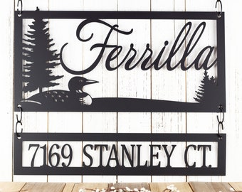 Custom Family Name and Address Metal Signs - Black, Loon, Outdoor Sign, Custom Sign, Address Sign, Name Sign