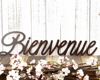 Bienvenue French Welcome Metal Wall Art, Outdoor Welcome Sign, Housewarming Gift