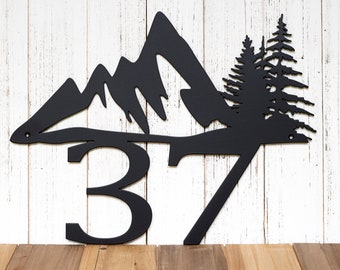Custom Mountain House Number Metal Sign - Black, 17x13, Mountain, Pine Tree, Metal Sign, Address Plaque, Outdoor Sign