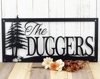 Custom Outdoor Family Last Name Metal Sign with Pine Trees and Rocks - Black, Custom Sign, House Sign