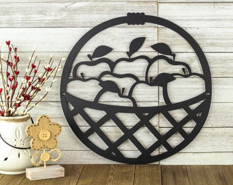 Apple Kitchen Decor   Metal Wall Art   Kitchen Signs   Rustic Home Decor   Mothers Day Gift   Farmhouse   Laser Cut Sign   Matte Black shown