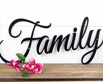 Family Sign | Metal Sign | Metal Wall Art | Wall Hanging | Family | Script | Metal Wall Decor | Sign | Housewarming Gift | Steel Sign