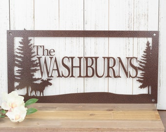 Last Name Sign | Custom Family Name Sign | Metal Name Sign | Personalized House Sign | Lake House Decor | Laser Cut Sign | Copper Vein shown