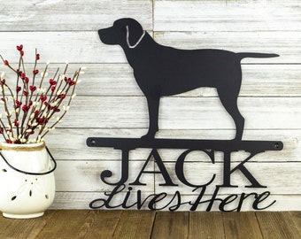 Labrador Retriever Custom Metal Sign | Outdoor Metal Wall Art | Metal Signs Personalized | Dog Sign | Laser Cut Sign | Matte Black shown