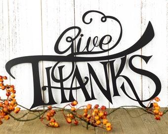 Give Thanks Thanksgiving Metal Sign - Black, 15x10.5, Autumn Decor, Fall Sign, Metal Wall Art, Outdoor Sign, Metal Art