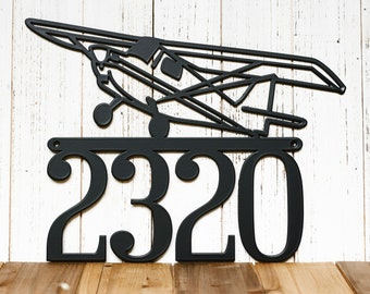 Metal House Numbers Sign - Aviation Decor, Pilot Gifts