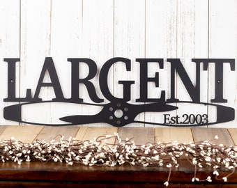 Custom Family Established Name Sign | Pilot Gift | Metal Wall Decor | Custom Family Sign | Aviation | Airplane | Personalized Sign