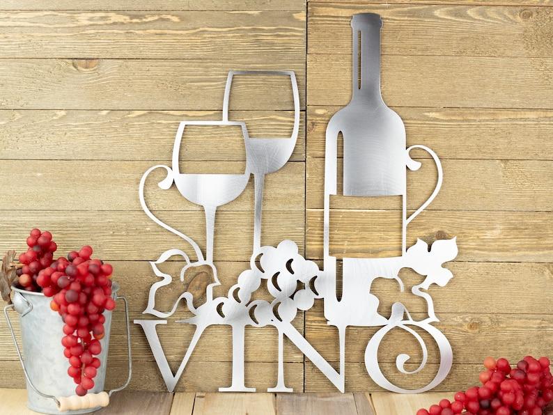 Wine Decor Wine Wall Decor Kitchen Decor Wine Sign Vino Metal Wall Art Wine Wedding Gift Vino Metal Sign