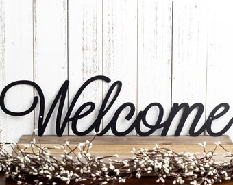 Welcome Sign   Metal Wall Art   Metal Sign   Wall Decor   Welcome   Script   Sign   Wall Hanging   Outdoor Sign   Wall Art