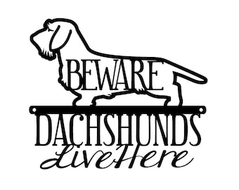 Wire Haired Dachshunds Live Here Metal Sign- Black, 12x10, Weiner Dog, Dachshund, Door Sign, Dachshund Gift, Toy Dog