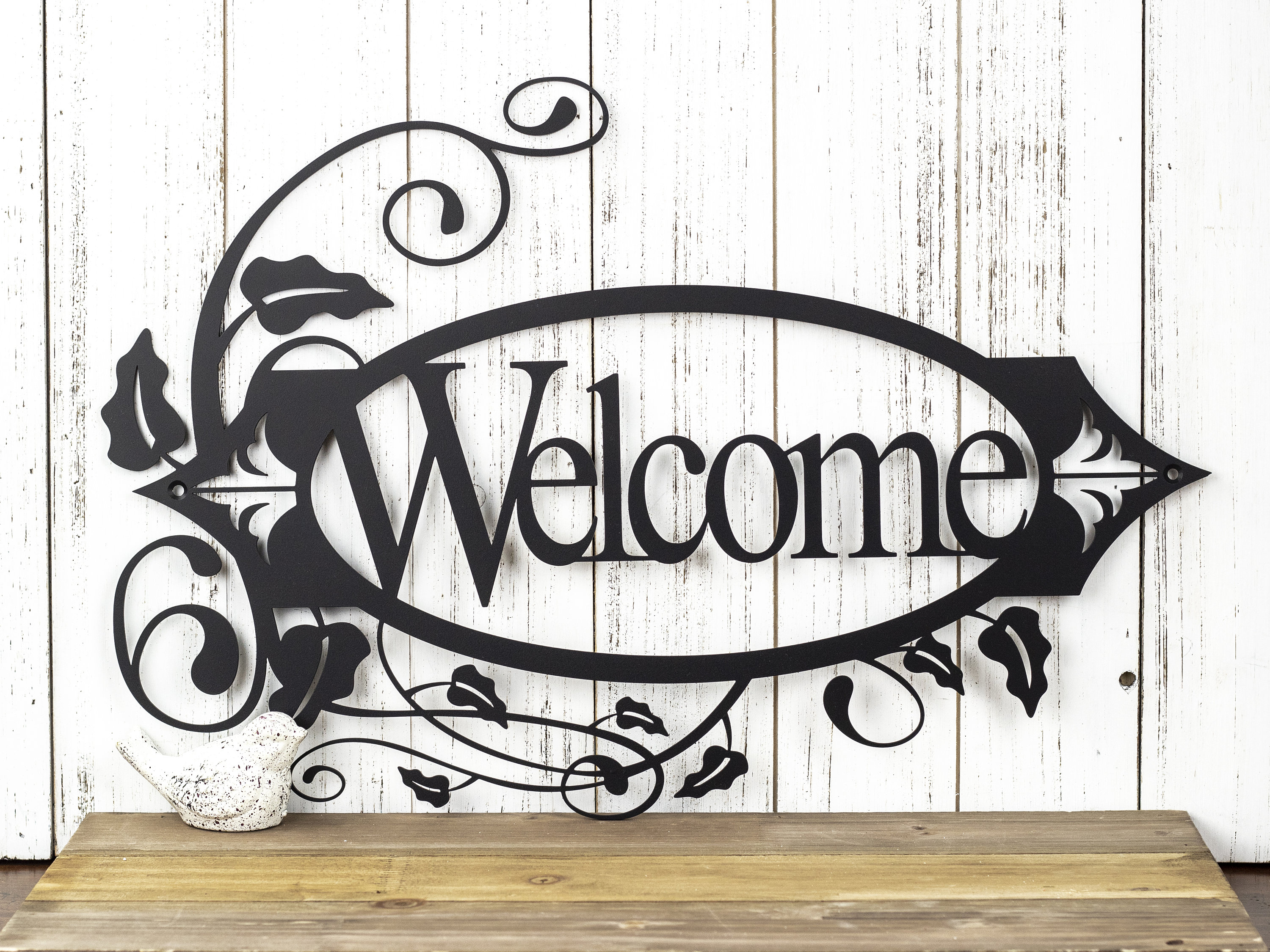 Welcome Metal Sign with Vines - Black, 19.8x13.15, Metal ...