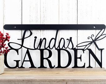 Custom Garden Name Sign | Metal Sign | Custom Metal Sign | Metal Wall Art | Garden | Name | Gardening | Personalized Sign