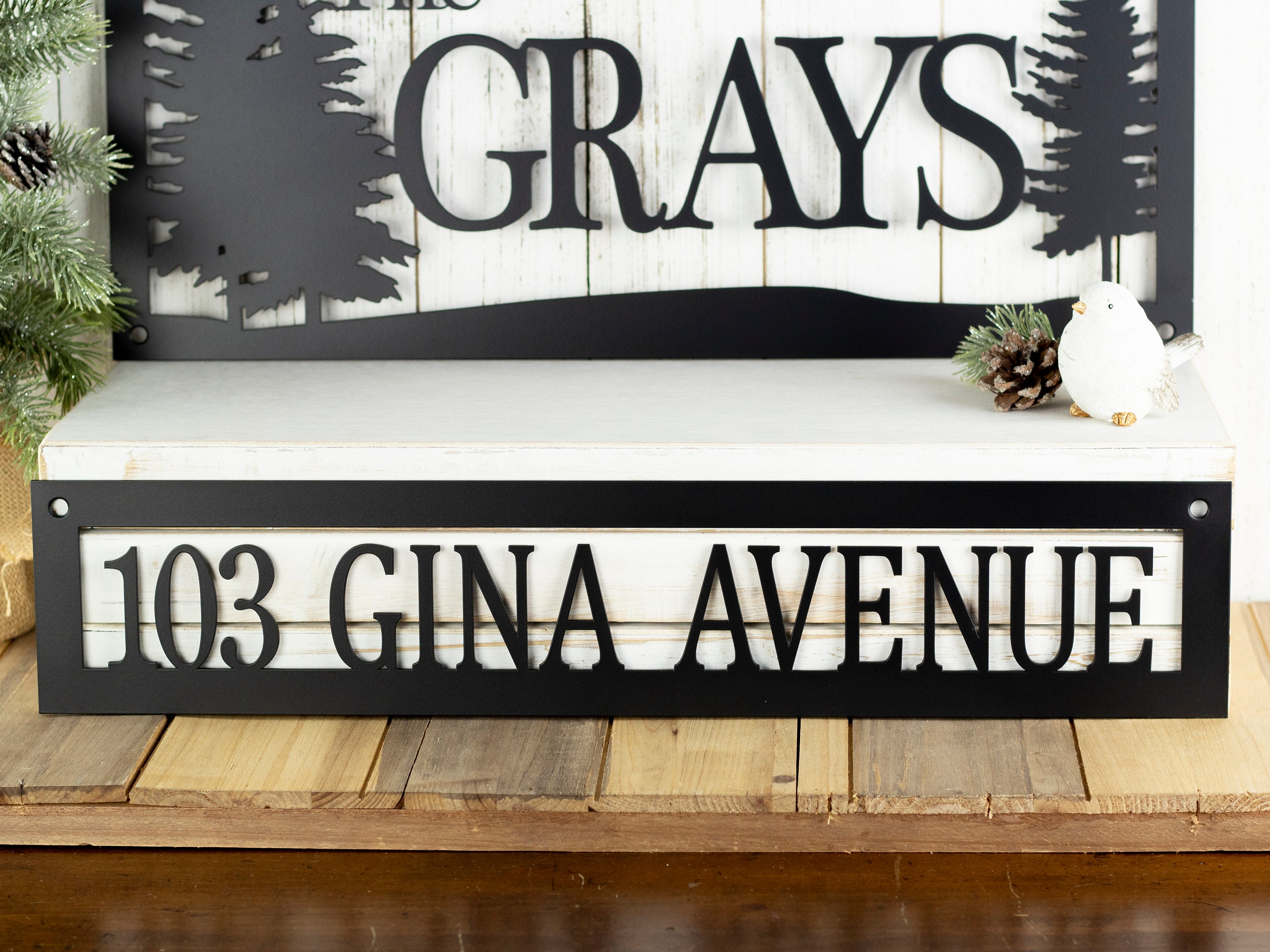 Custom Name and Address Metal Sign   Pine Trees   Outdoor ...
